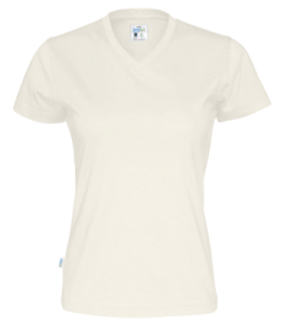 V-neck t-shirt off white med tryck